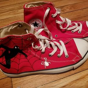 Red custom Spider-Man converse high tops